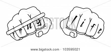 Clenched man fists with Thug life tattoo holding brass knuckles.
