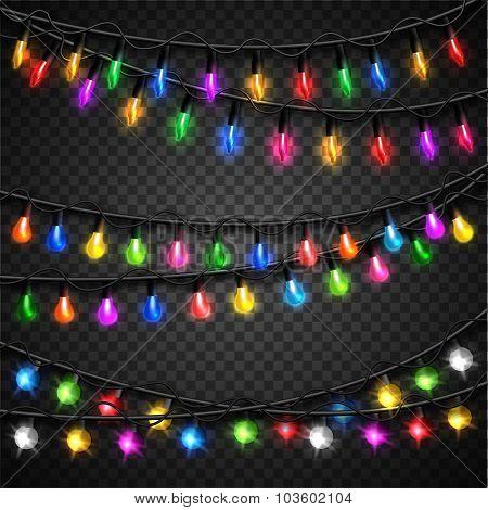 Colorful christmas transparent light bulbs collection for celebratory design. Shining Christmas back