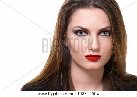 Sexy Beauty Girl with Red Lips and Nails. Provocative Make up. Luxury Woman with Blue Eyes. Fashion Brunette Portrait isolated on a white background. Gorgeous Woman Face. Long Hair poster