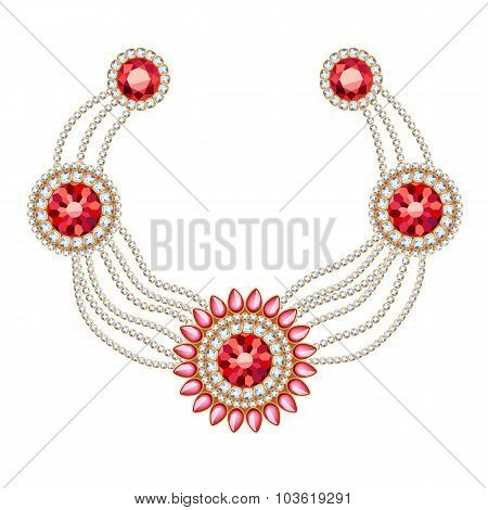 Golden round pendants necklace with jewelry ruby gemstones on diamond chains. Precious necklace. Ethnic indian style brooche. poster