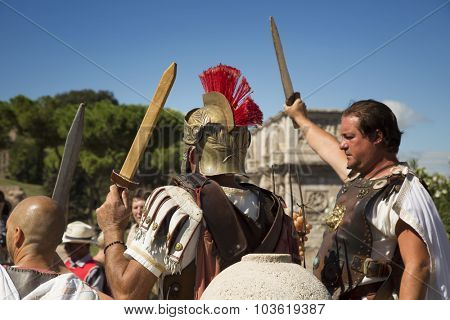 ROME, ITALY-SEPT 25, 2015: Performers wearing a gladiator costume in touristic place in Rome, Italy
