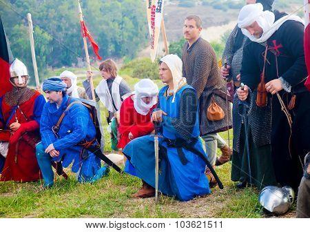 Crusader Warriors Kneeled At Prayer Before March