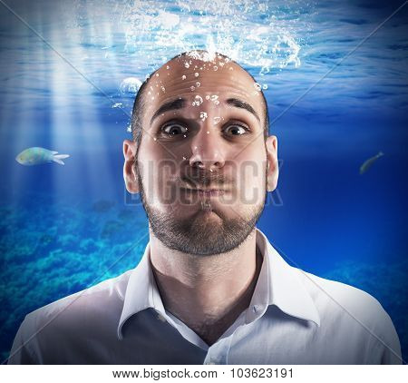 Underwater businessman