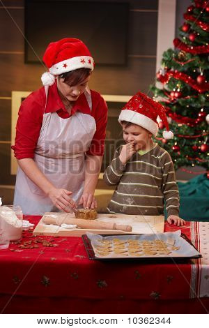 Mother And Son Getting Ready For Christmas