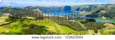 Lake Of Sete Cidades From Vista Do Rei Viewpoint In Sao Miguel, Azores