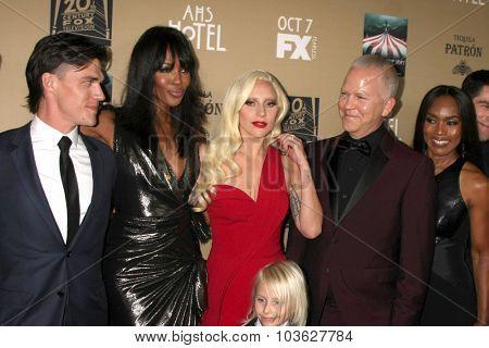 LOS ANGELES - OCT 3:  Finn Wittrock, Naomi Campbell, Lady Gaga, Ryan Murphy, Angela Bassett at the