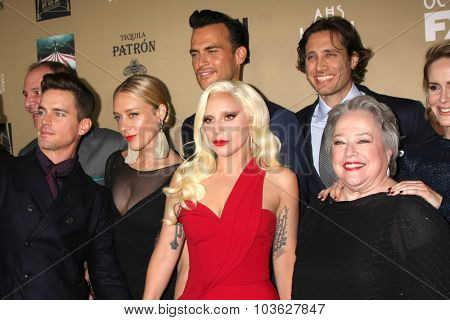 LOS ANGELES - OCT 3:  Matt Bomer, Chole Sevigny, Cheyenne Jackson, Lady Gaga, Brad Falchuk, Kathy Bates, S Paulson at the
