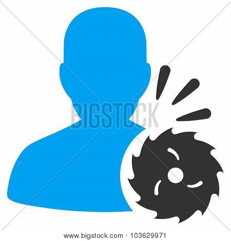 Body Execution vector icon. Style is bicolor flat symbol, blue and gray colors, rounded angles, white background. poster
