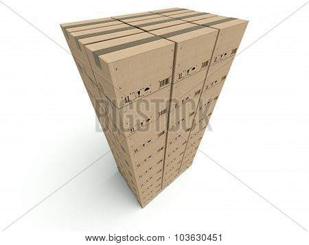High Stack Of Cardboard Boxes Isolated On White
