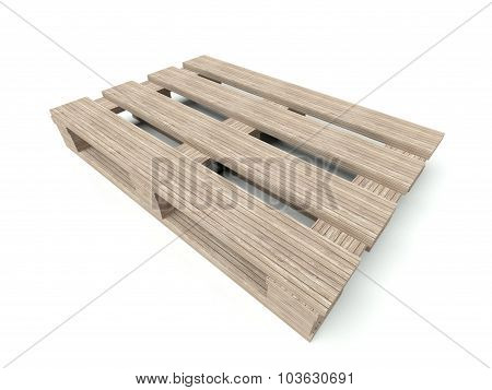 Wooden Pallete From The Warehouse Isolated On White