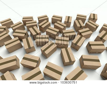 Lot Of Cardboard Boxes Lying On The Ground