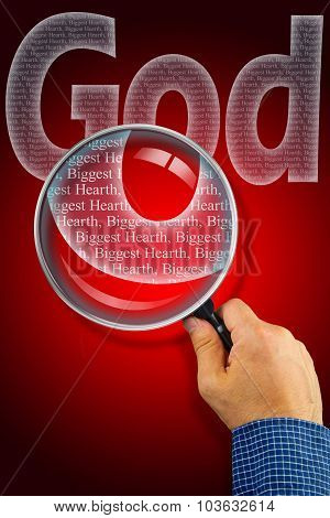 The name GOD observed with magnifying glass shows He is The Biggest Heart poster