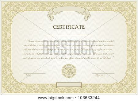 Editable  Certificate Template With Ornamental Border, In Modern Style