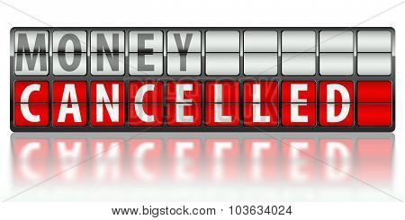 Business concept of money cancelled on display board poster