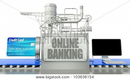 Online Banking Concept, Computer And Credit Card