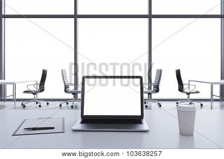 Front View Of The Workplace In A Modern Panoramic Office With Copy Space In The Windows. White Table