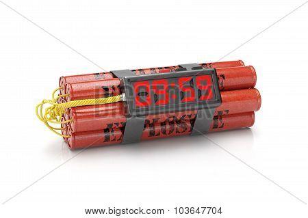 Explosives With Alarm Clock Detonator Isolated On White Background