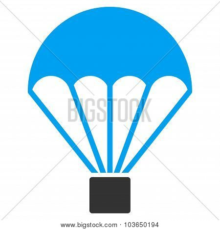 Parachute vector icon. Style is bicolor flat symbol, blue and gray colors, rounded angles, white background. poster