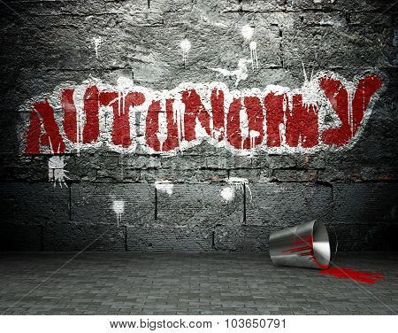 Graffiti Wall With Autonomy, Street Background