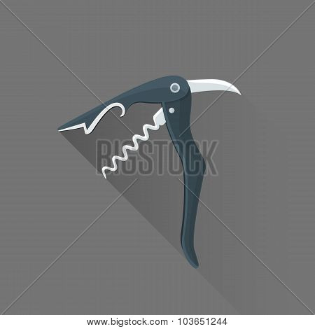 Vector Flat Style Black Sommelier Knife Illustration Icon.