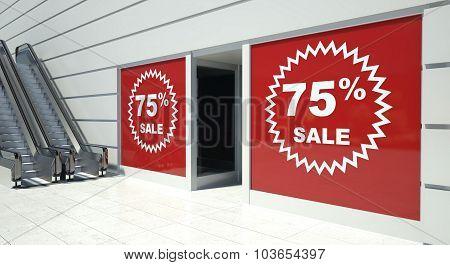 75 Percent Sale On Shopfront Windows And Escalator