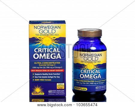 MIAMI, USA - JUNE 10, 2015: A bottle of Norwegian Gold Critical Omega fish oil supplement.