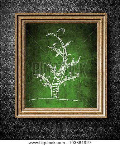 Geneological Family Tree Chalkboard In Old Wooden Frame