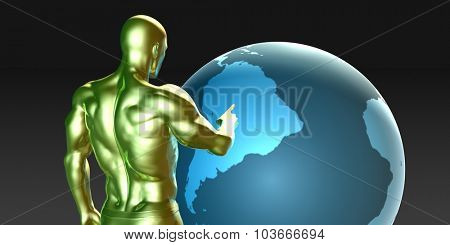 Businessman Pointing at South America Business Investment