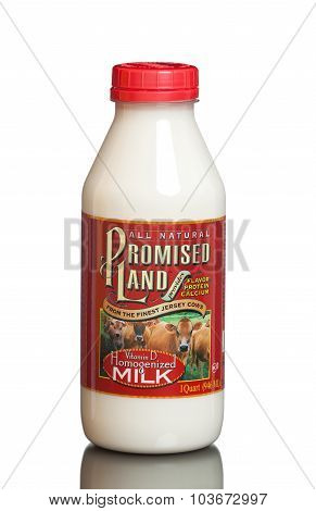 MIAMI, USA - JULY 31, 2015: A bottle of 1 quart Promised Land Homogenized Whole White Milk.