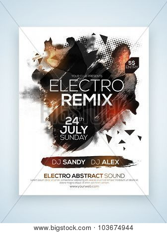 Electro Music Party celebration, one page Flyer, Banner or Template with date and time details.