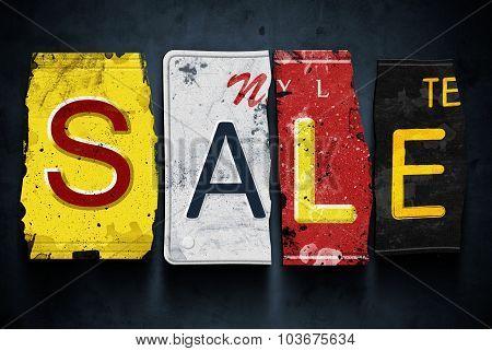 Sale Word On Vintage Car License Plates, Concept Sign