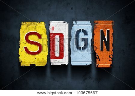 Sign Word On Vintage Car License Plates, Concept