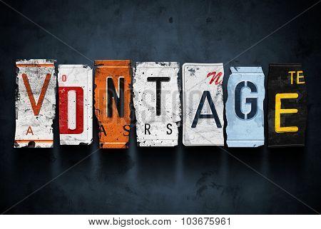 Vintage Word On Car License Plates, Concept Sign