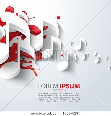 eps10 vector music note background design with red ink paint splatter background
