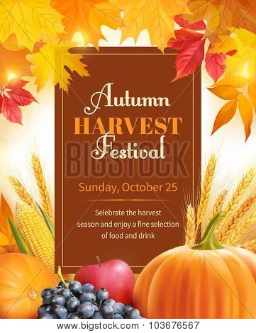 Autumn Harvest Festival poster design. Vector illustration.