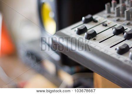 Faders On A Micro Mixing Board