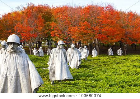 Washington DC, USA - November 09, 2014: Korean War Veterans Memorial