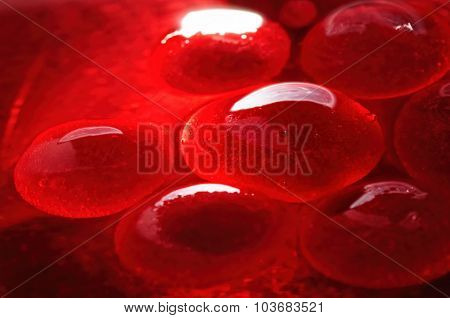 Red jelly-like globules