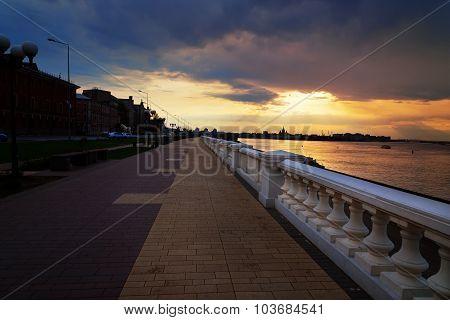 Volga river embankment at sunset. Nizhny Novgorod. Russia poster