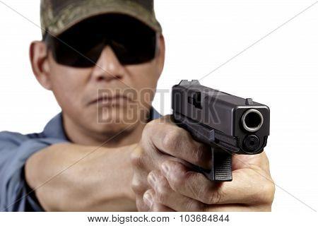 Man with Handgun Weapon Pointing on White