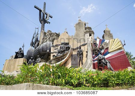 Heritage Of Cebu Monument.built At Plaza Parian In Cebu City.the Mammoth Structure Depicts Significa