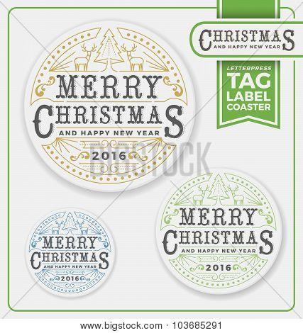 Merry Christmas Tags, Label, Coaster Letterpress Design
