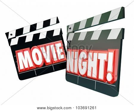 Movie Night words in red 3d letters on movie clappers to illustrate spending an evening together watching films for entertainment and relaxation at home