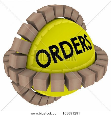 Orders word on a sphere with cardboard boxes or packages of products being sent to customers from a fulfillment center or warehouse