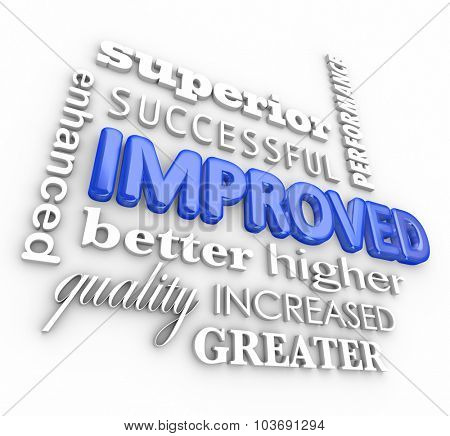 Improved word collage in 3d letters including enhanced, better, quality, superior, success, increased, performance results