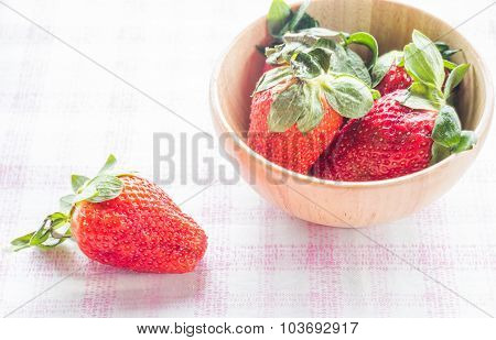 Fresh Strawberry On Wooden Bowl