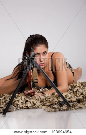 Young Woman With Light Machinegun