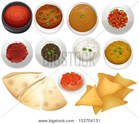 Different kind of chips and dips illustration