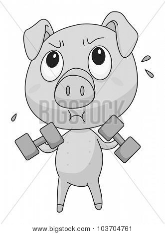 Little pig lifting weights illustration