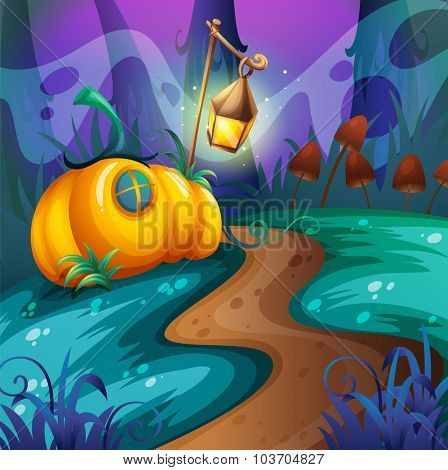 Halloween theme with pumpkin in the field illustration